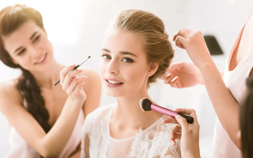 Allow enough time for hairstyling and makeup in marriage