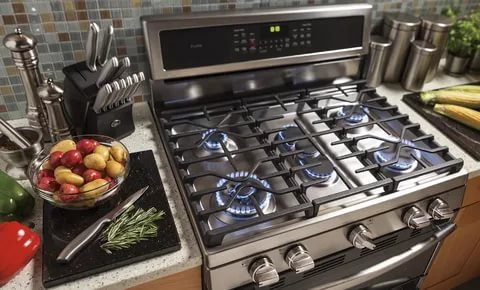 a gas stove is stainless steel