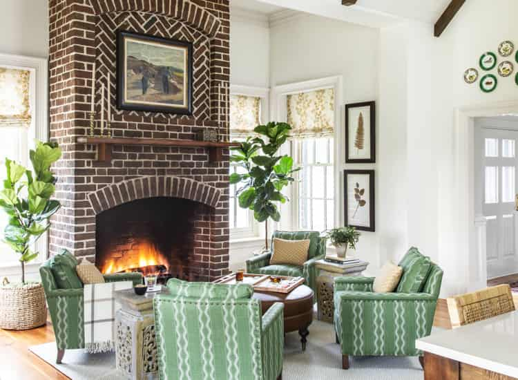 A fireplace in dining room