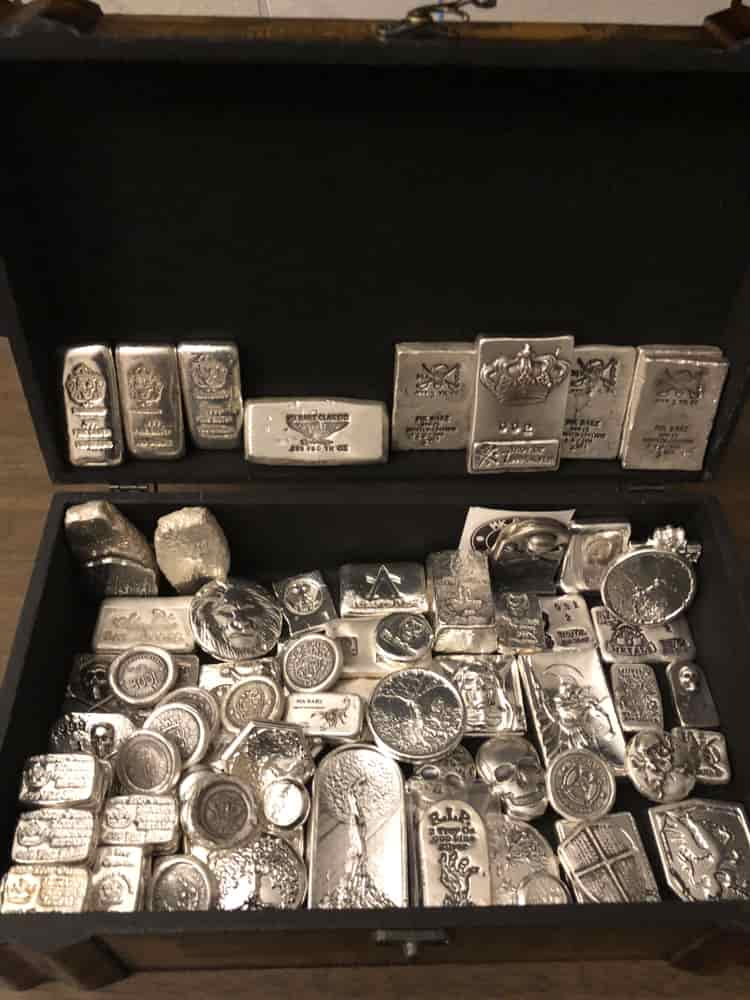 Store silver bars in a safe at home or bank